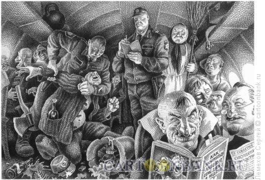 Карикатура: Задержание террориста в самолёте, Лемехов Сергей