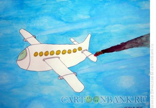 Карикатура: Пожар на авиалайнере, Шилов Вячеслав