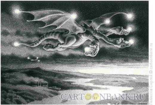Карикатура: Ночной полёт, Лемехов Сергей
