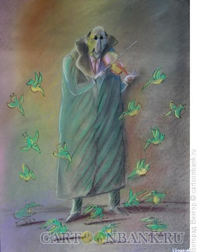 Карикатура: Уличный музыкант, Богорад Виктор