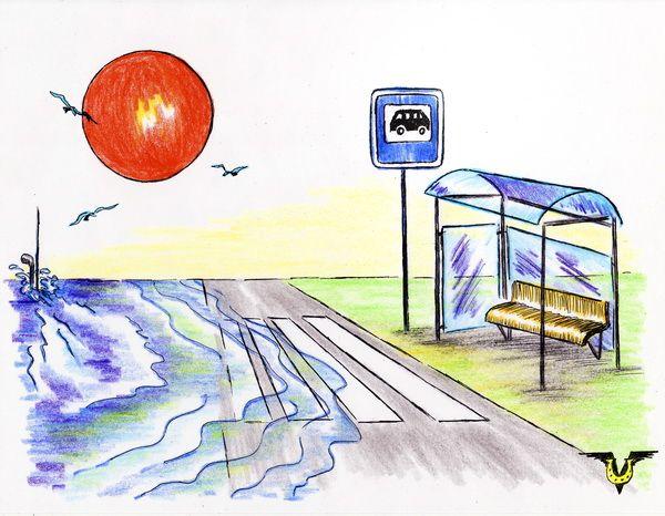 Карикатура: Остановка, Владимир Уваров
