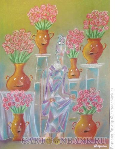 Карикатура: Продавщица цветов, Богорад Виктор