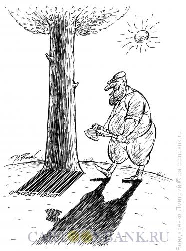 Карикатура: Дерево и штрих-код (ч/б), Бондаренко Дмитрий