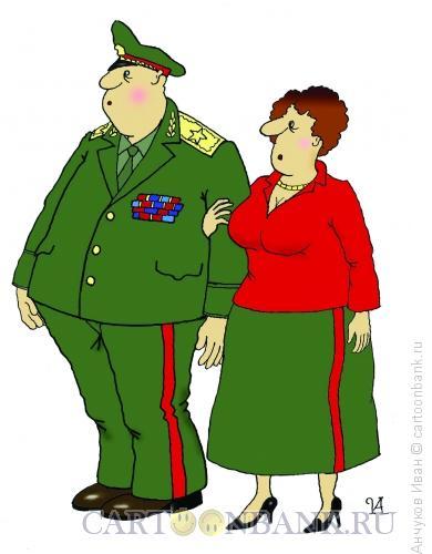 Карикатура: генерал и генеральша, Анчуков Иван