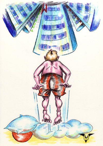 Карикатура: Прыжок в Утро, Владимир Уваров