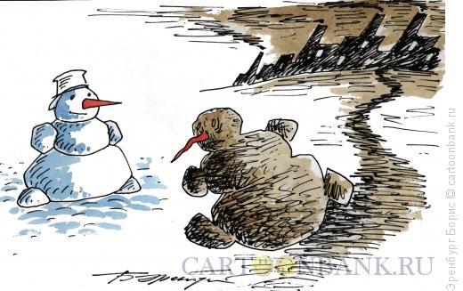 Карикатура: Городской снеговик, Эренбург Борис
