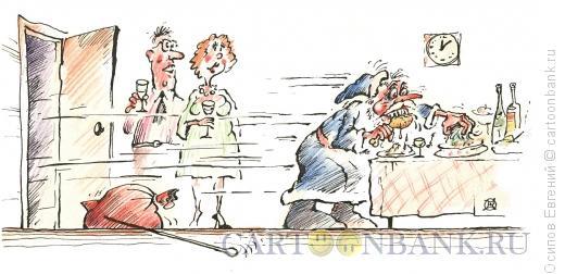 Карикатура: голодный Дед Мороз, Осипов Евгений