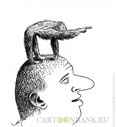 Карикатура: обезьяна на голове, Гурский Аркадий