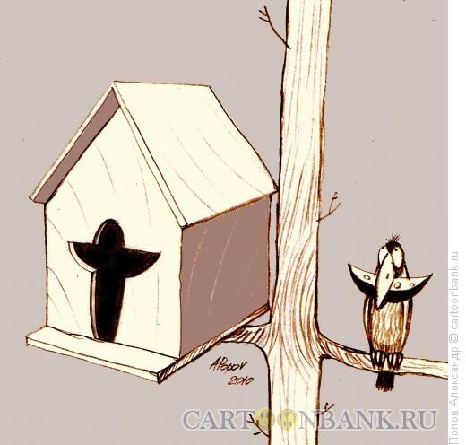Карикатура: Ворон с привилегиями, Попов Александр