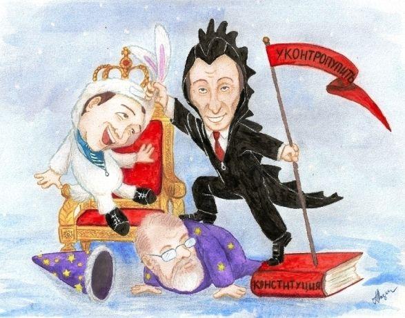 Карикатура: Черный дракон сменяет белого кролика, Лазич