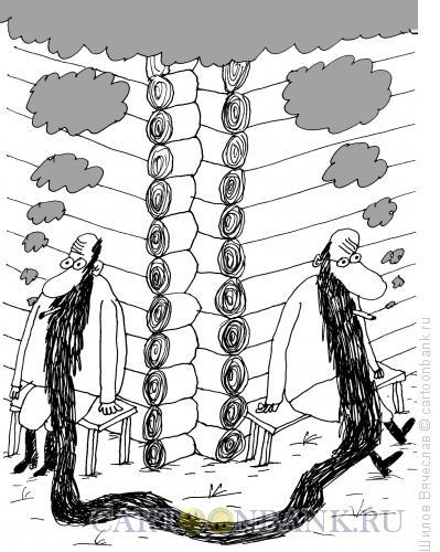 Карикатура: Курильщики на завалинке, Шилов Вячеслав