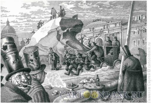 Карикатура: На строительстве Медного всадника, Лемехов Сергей