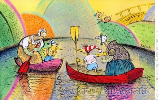Карикатура: Два Буратино в пруду, Сергеев Александр