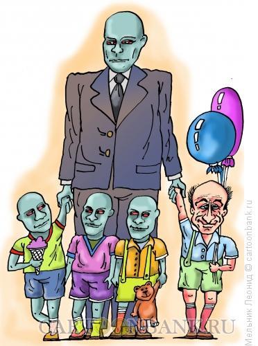 Карикатура: Фантомас с детьми, Мельник Леонид