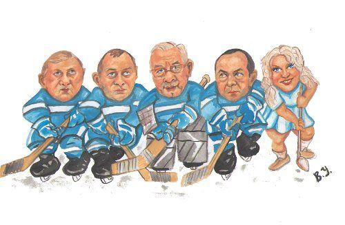 Карикатура: Бело-голубые первая пятерка., владимир ву
