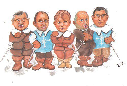 Карикатура: Перая пятерка Батькивщины.