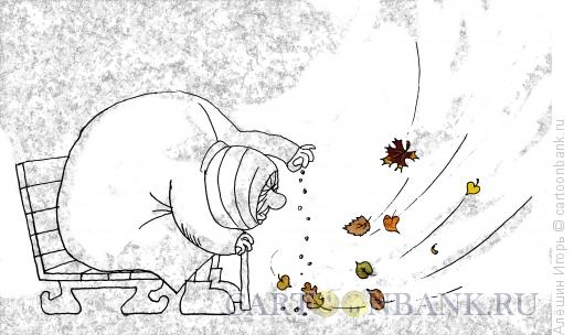 Карикатура: Старушка и осень, Алёшин Игорь