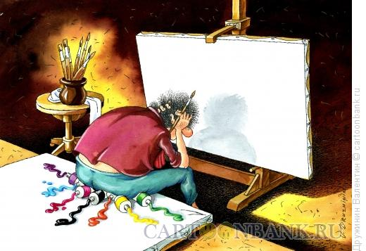 Карикатура: Перед холстом, Дружинин Валентин