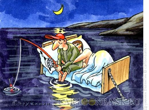 Карикатура: Ночная рыбалка, Дружинин Валентин