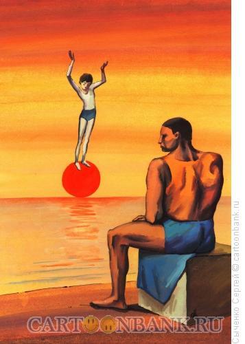 Карикатура: Девочка на шаре, Сыченко Сергей