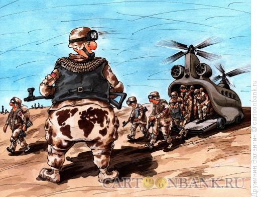 Карикатура: Воздушный десант, Дружинин Валентин