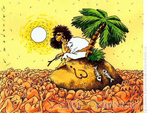 Карикатура: Остров в море женщин, Дружинин Валентин