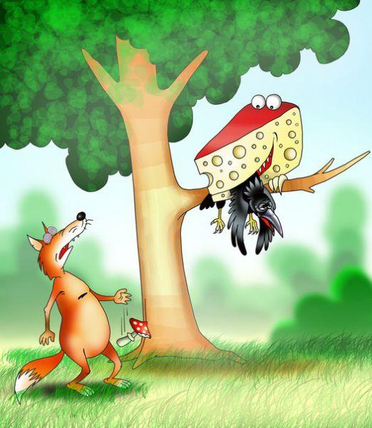 Карикатура: Вороне как то бог..., Сергей Корсун
