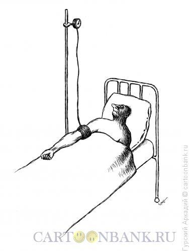 Карикатура: Больной с тонометром, Гурский Аркадий