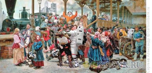 Карикатура: Проводы в космонавты, Сергеев Александр