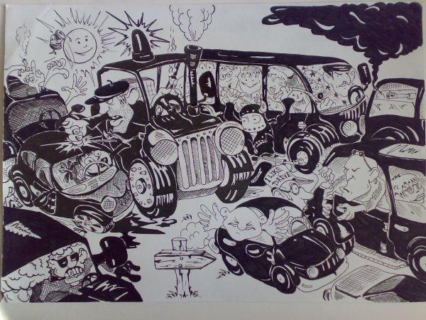 Карикатура: Эх дороги ...или дачный сезон ., Константин Мухоморов