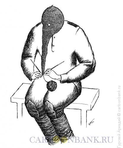 Карикатура: солдат в противогазе, Гурский Аркадий