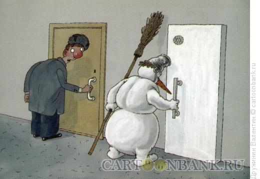 Карикатура: Своя дверь, Дружинин Валентин