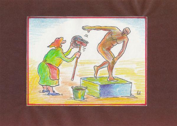 Карикатура: В музее, Николай Кинчаров