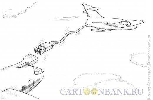 Карикатура: USB-дозаправка (ч/б), Шмидт Александр