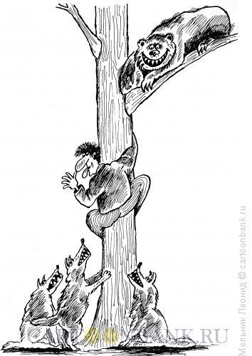 Карикатура: Убег!!!, Мельник Леонид
