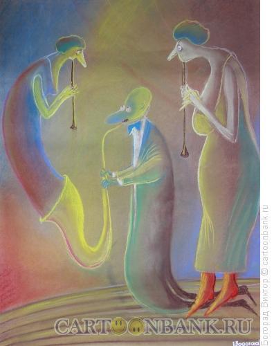 Карикатура: Саксофонист и его женщины, Богорад Виктор