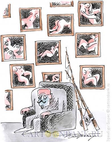 Карикатура: Старый рыбак, Эренбург Борис