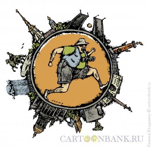 Карикатура: Турист в Петербурге, Камаев Владимир