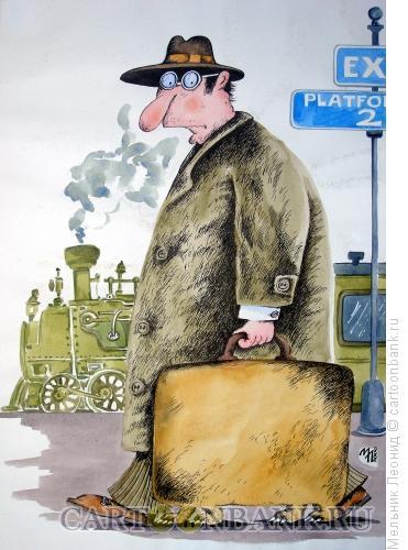 Карикатура: Пассажир, Мельник Леонид