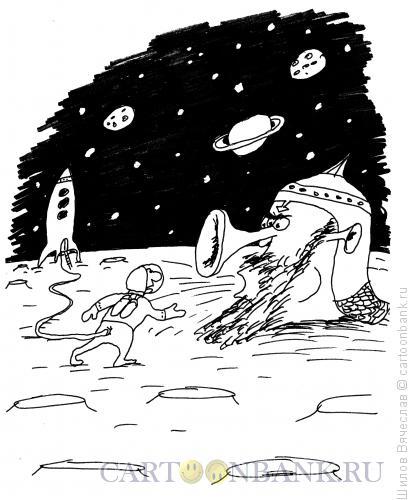 Карикатура: Космонавт и Голова, Шилов Вячеслав