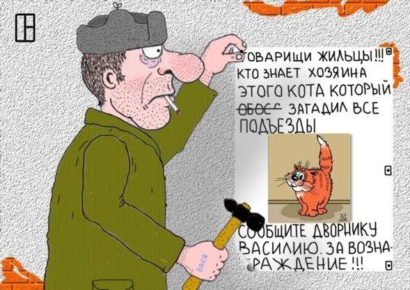 Карикатура: Чей кот?, Олег Тамбовцев