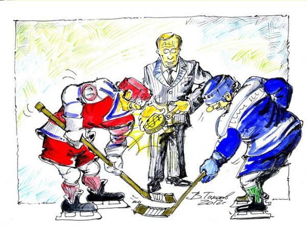 Карикатура: золотая шайба., Тихонов Владимир