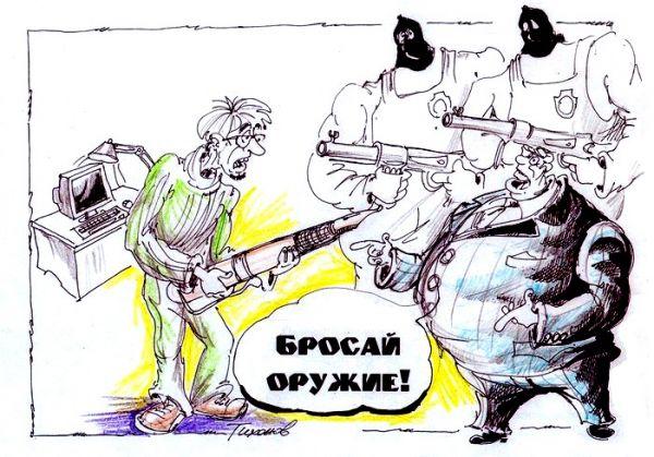 Карикатура: бестрашный воин., Владимир Тихонов