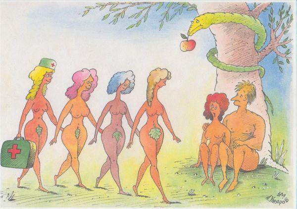 Карикатура: Женщины в жизни Адама, Александр Умяров