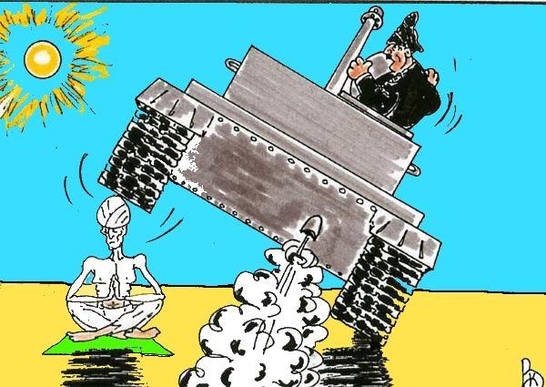 Карикатура: Крутой йог, Валерий Каненков
