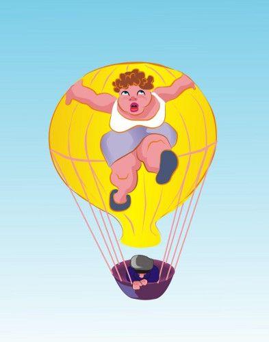 Карикатура: Девушка на шаре.
