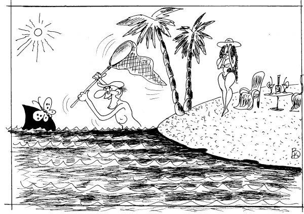 Карикатура: Редкая бабочка, Валерий Каненков