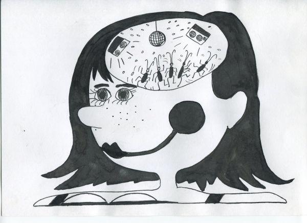 Карикатура: Девушка подросток, Петров Александр
