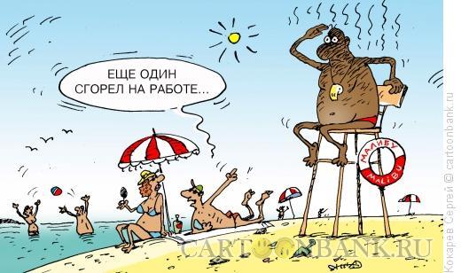 Карикатура: спасатель малибу, Кокарев Сергей