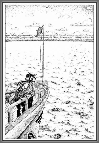 Карикатура: Скоро берег, юнга. Это верная примета!, Николай Ломачинский